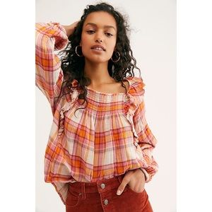 FREE PEOPLE Siena Smocked Pullover Shirt MEDIUM